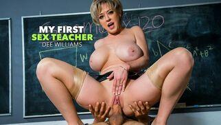 المعلمة تحاول مساعدة الطالب فى أن يركز فى نهودها الكبيرة وكسها المبلل   نيك فى المدرسة